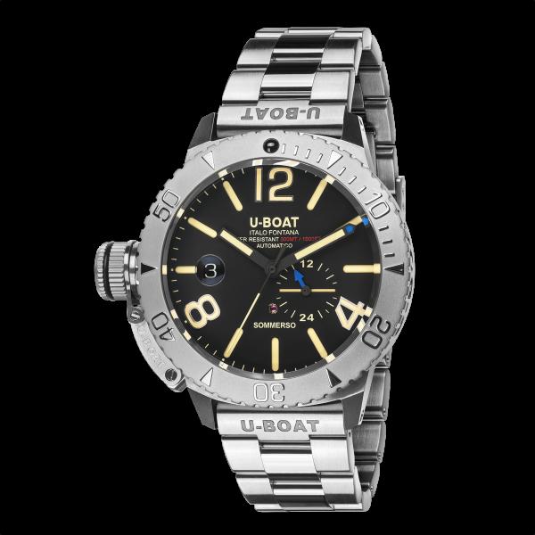 U-Boat Italo Fontana, SOMMERSO, Stahl, 46 mm, 30 ATM, schw. Blatt, STAHLARMBAND, Ref. 9007 A MT