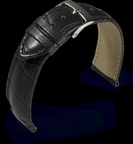 Lederband Kroko-Print schwarz 22 mm