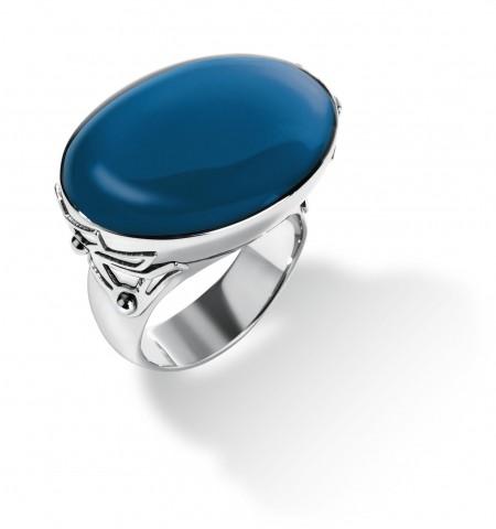 MAONA BLUE RING,SS,BLUE RESIN,
