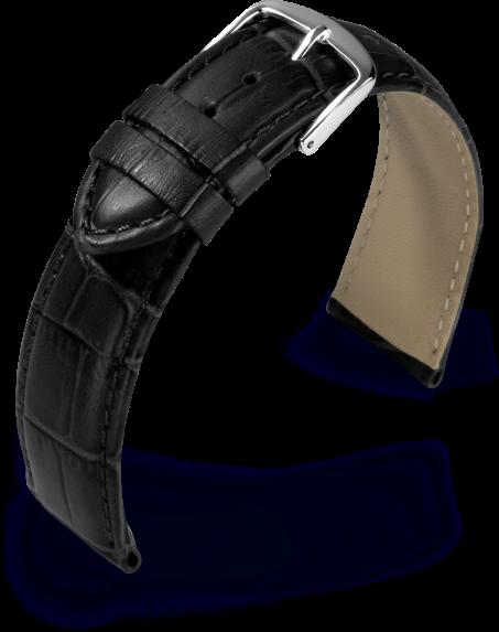 Uhrarmband Guinea schwarz Kroko Optik 800762010