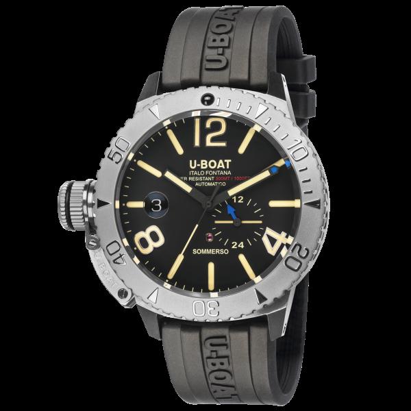 U-Boat Italo Fontana, SOMMERSO, Stahl, 46 mm, 30 ATM, schw. Blatt, Silikonarmband, Ref. 9007 A
