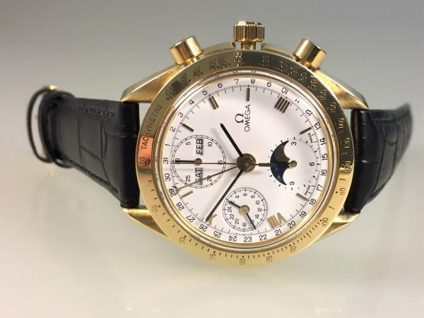 Omega Speedmaster Moonwatch, Moonphase, Chronograph, 18 Karat Gelbgold